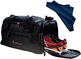 ANKHTIVE Gym Bag with Shoe Compartment, Wet Pocket Travel Duffel & Sports Cooling Towel