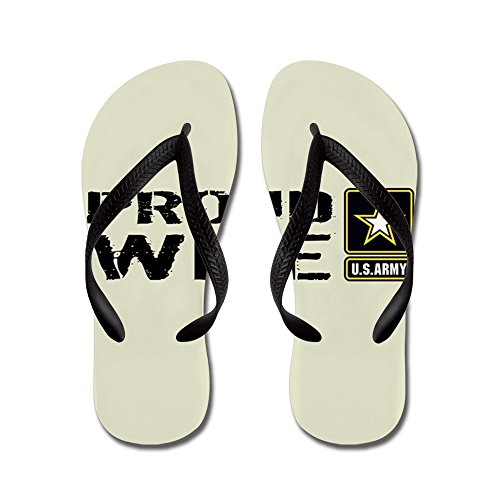 CafePress U.S. Army: Proud Wife (Sand) - Flip Flops, Funny Thong Sandals, Beach Sandals Black