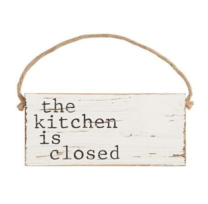 25 Home Decor White Distressed The Kitchen is Closed Door Hanger