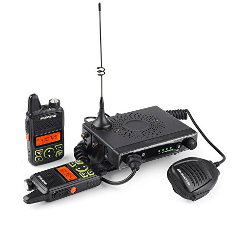 Baofeng - Mini 1 UHF 400-470MHz 15W Mobile Car Transceiver 20 Channels with 2 Mini Handheld Walkie Talkies (Station Radio Kit Base Ham)