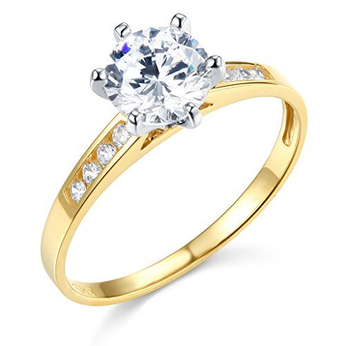 (TWJC 14k Yellow Gold SOLID Wedding Engagement Ring - Size 7)