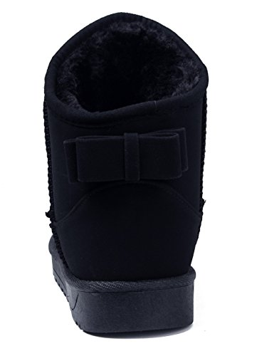 Shoes Slip Camoscio Donna AgeeMi Nero Inverno Faux With Stivali Neve On Bowknot SdwCE1qx