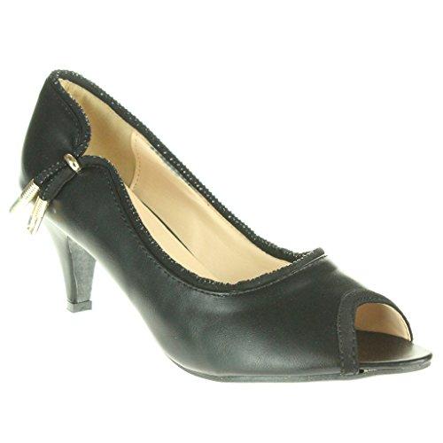 Mujer Señoras Dos tonos Noche Fiesta Boda Nupcial Paseo Casual Peep Toe Tacón medio Sandalias Zapatos Talla Negro