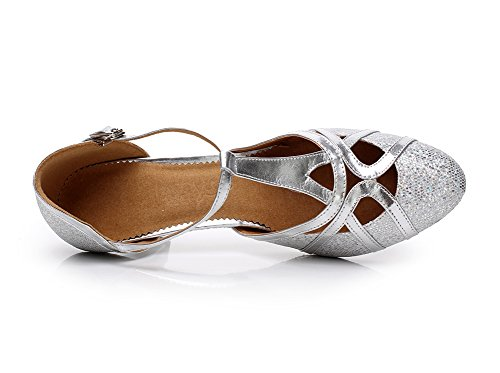 En Ferm De Cuir Paillettes 6cm Danse Talon Minitoo Ballroom Pu Chaussures Latin Qj6133 Salsa Femmes strap Tango Haut Argent T Toe wTExEzYgqB