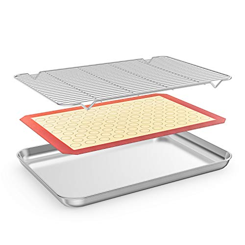 Bastwe Baking Sheet with Cooling Rack and Silicone Baking Mat, 20 Inch Stainless Steel Bakeware, Healthy & Nontoxic & Rustproof & Easy Clean & Dishwasher - Safe 19l