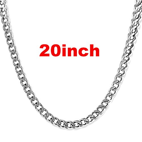 JINGRAYS 6mm Thick Curb Chain Necklace for Men Biker Punk Style, Male Stainless Steel Chain Link, 20 inches -Silver