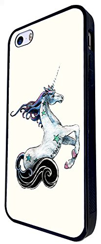 1447 - Cool Fun Trendy Cute Unicorn Whimsical Fantasy Horse Magical Design iphone SE - 2016 Coque Fashion Trend Case Coque Protection Cover plastique et métal - Noir