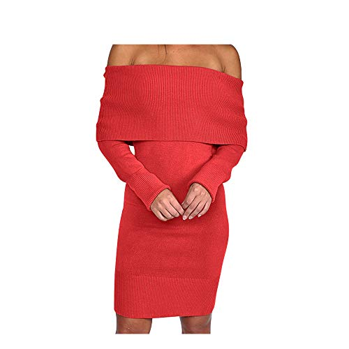 Dress Shoulder Red Sweater Mini Long Off Womens Pencil Bodycon Sleeve Knitted Sexy 4qOwpUR