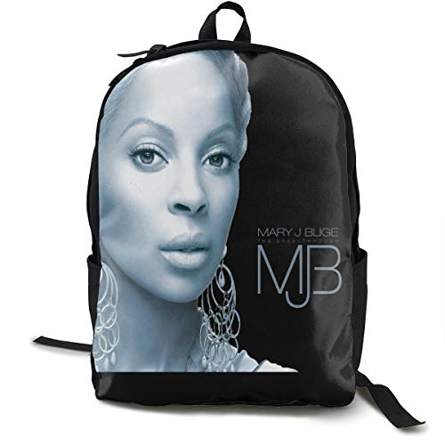 Mary J Blige School Backpack For Women Men Canvas Custom Fashion College Student Multi-function Daypack For Travel 15 Inch Backpack