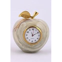 Radicaln Handmade Marble and Onyx Desk & Shelf Clocks - For Home and Office (Apple-Onyx)