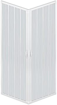 Rollplast - Mampara de ducha abatible BLUN2CONCC28090090. Dim. 90 x 90 x 185 cm, de PVC, a dos lados, dos puertas, con apertura angular, blanca: Amazon.es: Bricolaje y herramientas