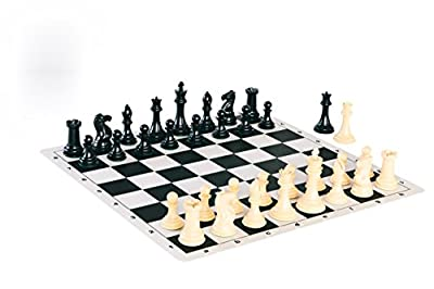 Quadruple Weight Tournament Chess Game Set - Chess Board Game with Natural Chess Pieces, Black Vinyl Board