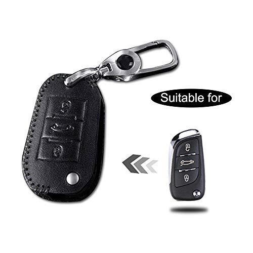 Funda Cuero para Llave Peugeot 3 Botones Llave Control Remoto Inteligente l/ínea Negro con Llaveros 1 PC Modelo C