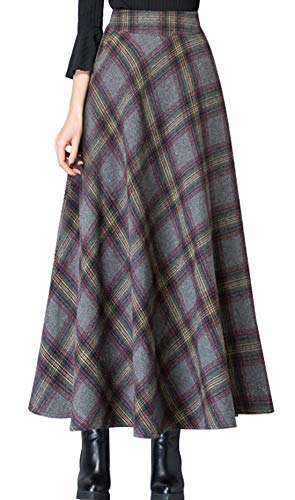 (chouyatou Women's Vintage High Waisted A-Line Big Hem Maxi Plaid Wool Skirt (Large, Red))