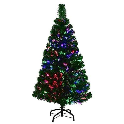 COSTWAY 4 FT Artificial PVC Christmas Pre-Lit Fiber Optic Tree with Metal Stand, ()