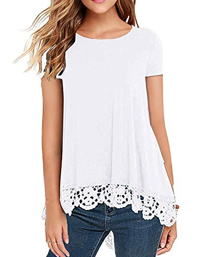 DOSWODE Womens Tops Short Sleeve Lace Trim O-Neck A-Line Tunic Blouse Shirts White M ()