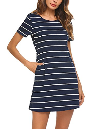 Mlxgoie Women's Casual Loose Striped Lovely Dress Short Sleeve T Shirt Mini Dress with Pockets (Blue, Large) by Mlxgoie