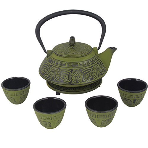 (26 oz Japanese Cast Iron Pot Tea Set w/Trivet, Green)