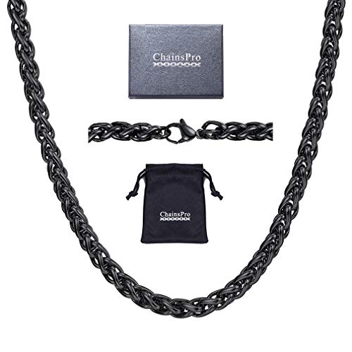 Black Chain Necklace 6mm 24 inch Wheat Rope Steel Jewelry
