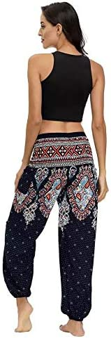 QUANYONG Womens Harem Pants Boho Yoga Pants Hippie Flowy Casual Beach Pants High Smocked Waisted