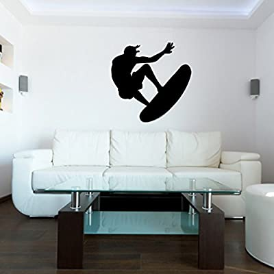 Surf Surfing Wall Decal Sticker 23 - Decal Stickers and Mural for Kids Boys Girls Room and Bedroom. Extreme Sport Wall Art for Home Decor and Decoration - Surfer Surf Board Silhouette Mural