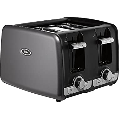 Oster 4-Slice Toaster w/ Extra Wide Slots Bagel & Toast Lift, Gray | TSSTTRWA4G