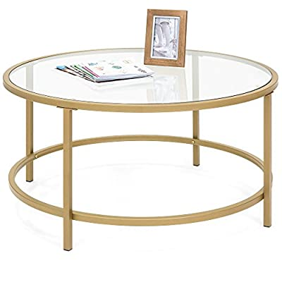 Best Choice Products Round 36in Tempered Glass Coffee Table w/Satin Gold Trim for Home, Living Room, Dining Room