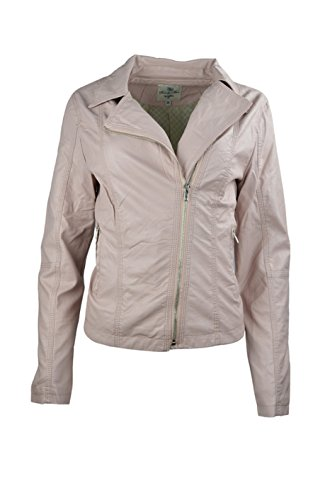 Costura Constituyen Faux Ladies Las Mujeres Leather Llanura Jacket zXUwdd