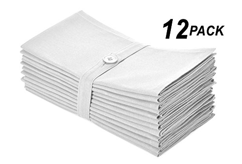 Cotton Craft Napkins, 12 Pack Oversized Dinner Napkins 20x20 White, 100% Cotton, Tailored with Mitered corners and a generous hem, Napkins are 38% larger than standard size ()
