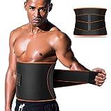 VOHUKO Sauna Waist Trimmer, Wide Men Waist Trainer, Sweat AB Belt with Adjustable Pressure Straps, Weight Loss Back Support Neoprene Motion Splicing Belt (XL 41inch-49inch)