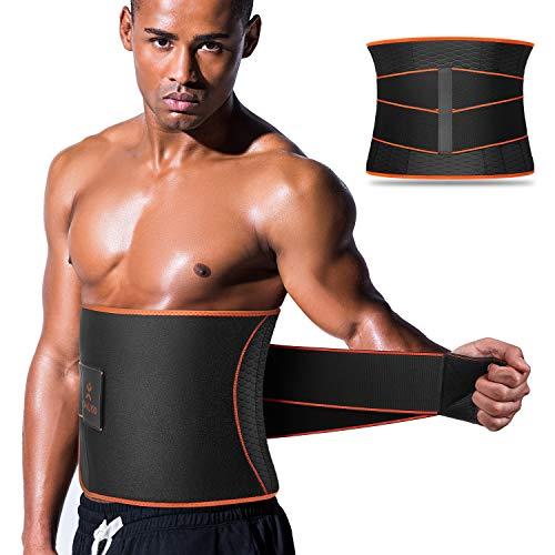 VOHUKO Sauna Waist Trimmer, Wide Men Waist Trainer, Sweat AB Belt with Adjustable Pressure Straps, Weight Loss Back Support Neoprene Motion Splicing Belt (L 32-41 inch)