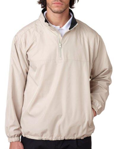 8936 UltraClub Adult Micro-Poly 1/4-Zip Windshirt (Sand) (S) Mens Regular Pullover Windshirt