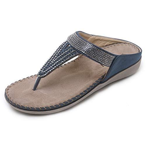 (APTRO Women's Rhinestone T-Strap Thong Flat Sandals Wedge Flip-Flops Summer Sandals #2081 Blue 38)