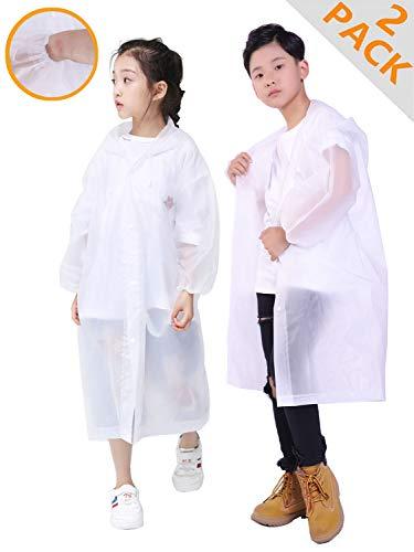 HLKZONE Rain Coats for Kids, [2 Pack] EVA Emergency Reusable Rain Poncho Coat (Coats Jackets Childrens)