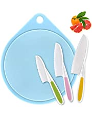 LEEFE Kids Knife Set, Children's Cooking Knives in 3 Sizes and Plastic Cutting Board/Firm Grip, Serrated Edges, BPA-Free Plastic, Safe Knives for Bread&Salad Knives – Best Kids Gift