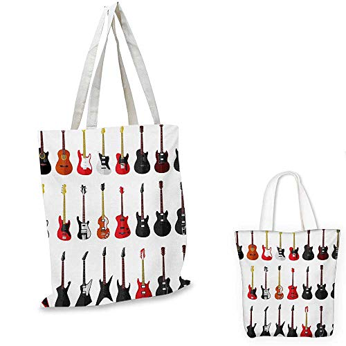 Guitar royal shopping bag Musical Instruments Set Pattern with Various Acoustic Bass Making Music funny reusable shopping bag Vermilion Black White. 14