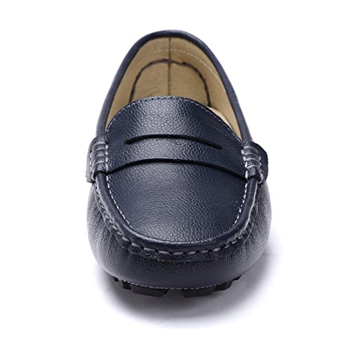 SUNROLAN Rebacca Women's Suede Leather Driving Moccasins Slip-On Penny Loafers Flats Boat Shoes PU Blue wWJoi