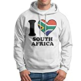 Men's I Love South Africa South African Flag Heart Cotton Hooded Pullover Cozy Sport Outwear