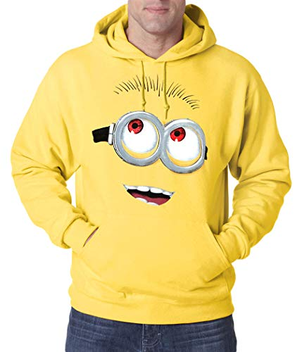 Animation Shops Minion Face Adult Hoodie-Large Yellow ()