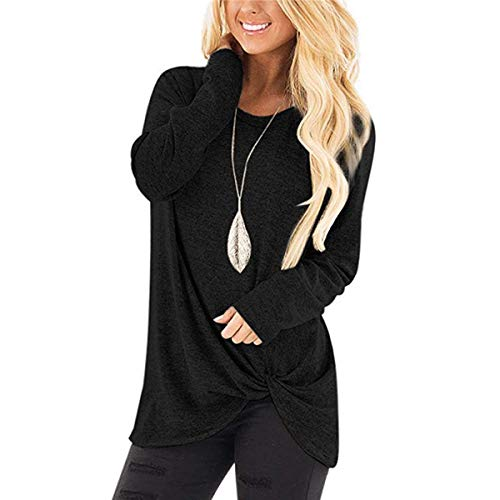 Ilfioreemio Women Knit Tunic Top Round Neck Blouse Knot Twist Front Long Sleeve Casual Soft Sweatshirt Black L