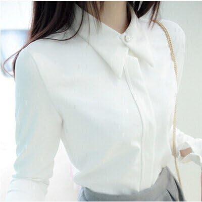 ZHUDJ Manga Larga Camisa Blanca Manga Larga Camisa Blanca con Cuello Estudiante Otoño Asentarse Shirt Mujer,Negro,L: Amazon.es: Deportes y aire libre