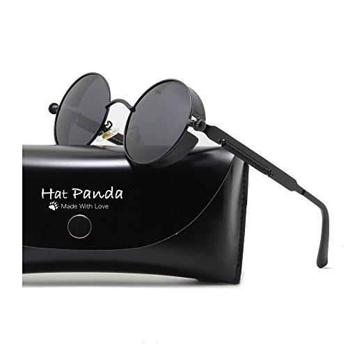 Round Polarized Steampunk Sunglasses Gothic John Lennon Sunglasses For Men And Women (Black & Clear Grey, - Sunglasses Polarized Steampunk