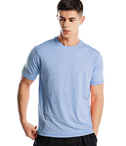 Zengjo Men's Quick Dry Athletic Shirts Tech Strech Short Sleeve Running T Shirt (Marled Sky Blu, XXL)