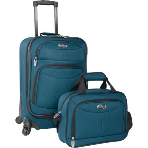 U.S. Traveler Fashion 2 Piece Carry-on Spinner Set (Teal), Bags Central