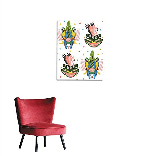 poster wall decor Hand drawn vector abstract cartoon summer time graphic decoration illustrations art seamless pattern with exotic tropical rainforest pink flamingo and Parrot Macaw birmural 16