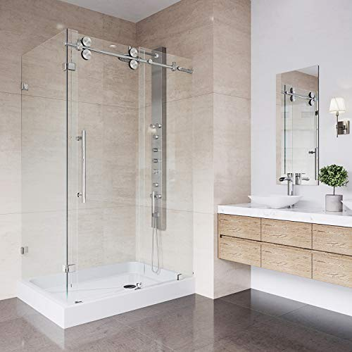 VIGO 36 x 48 Frameless Rectangular Sliding Shower Door Enclosure with Tempered Glass | Waterproof Shower Door Seal Strip and 304 Stainless Steel Hardware | Right Drain Base | Stainless Steel Finish