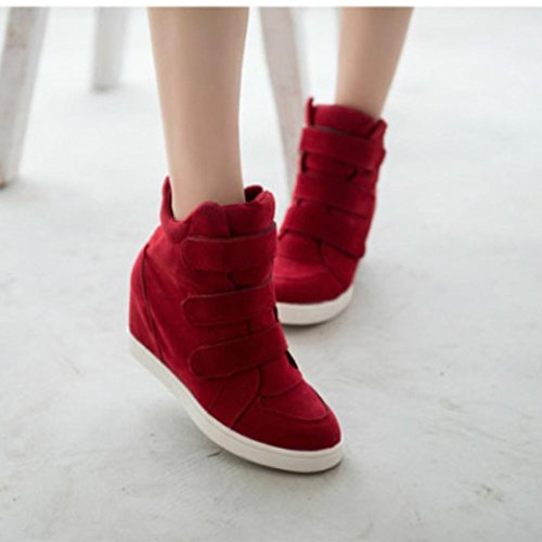 Ama (tm) Vrouwen Canvas Hoge Top Verborgen Wig Booties Mode Platform Sneakers Rood