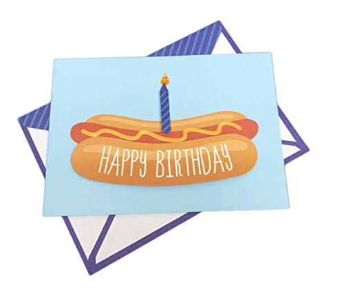 Hot Diggity Dog You're Old Embellished Hot Dog with Birthday Candle 5
