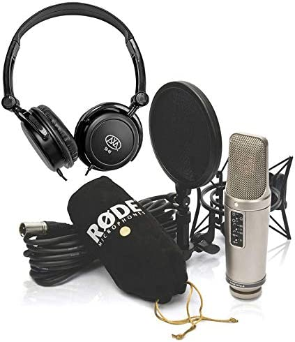 Rode NT2-A Cardioid Condenser Microphone Studio Bundle w//AxcessAbles Stereo Headphones