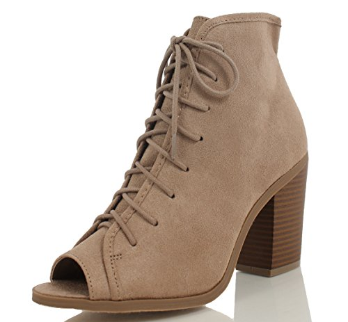Soda Women's Hush Faux Suede Peep Toe Lace Up Stacked Heel Ankle Boot